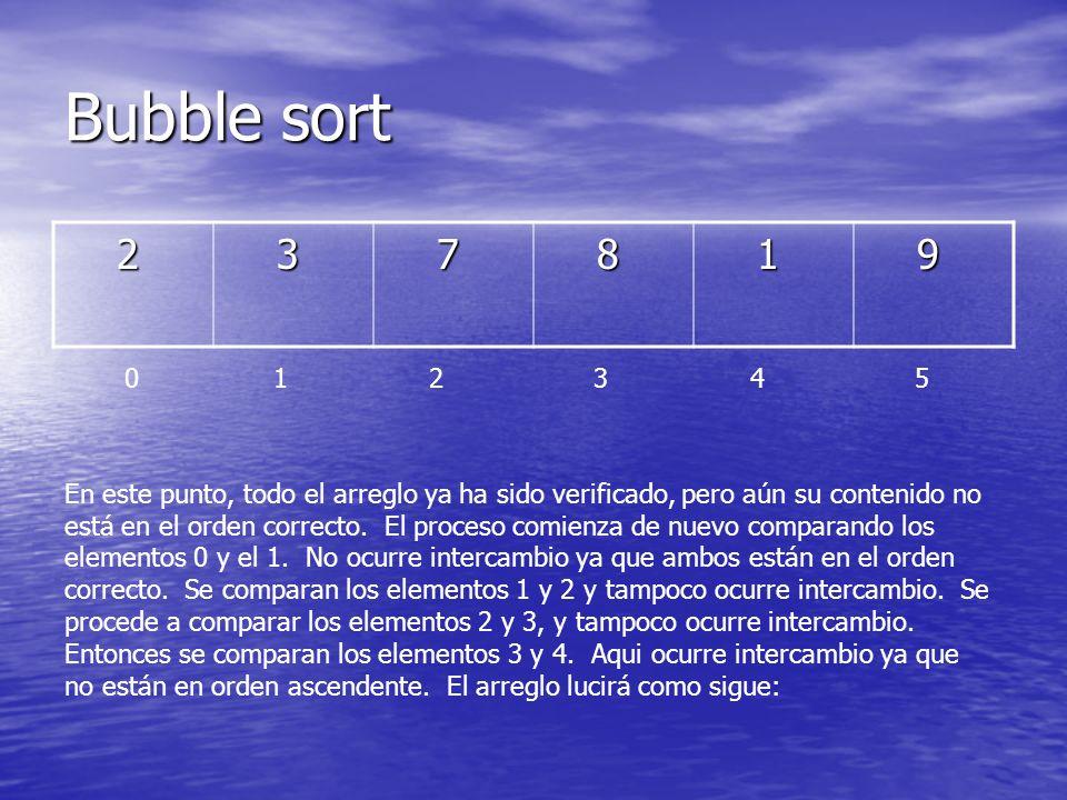 Bubble sort 2. 3. 7. 8. 1. 9. 0 1 2 3 4 5.