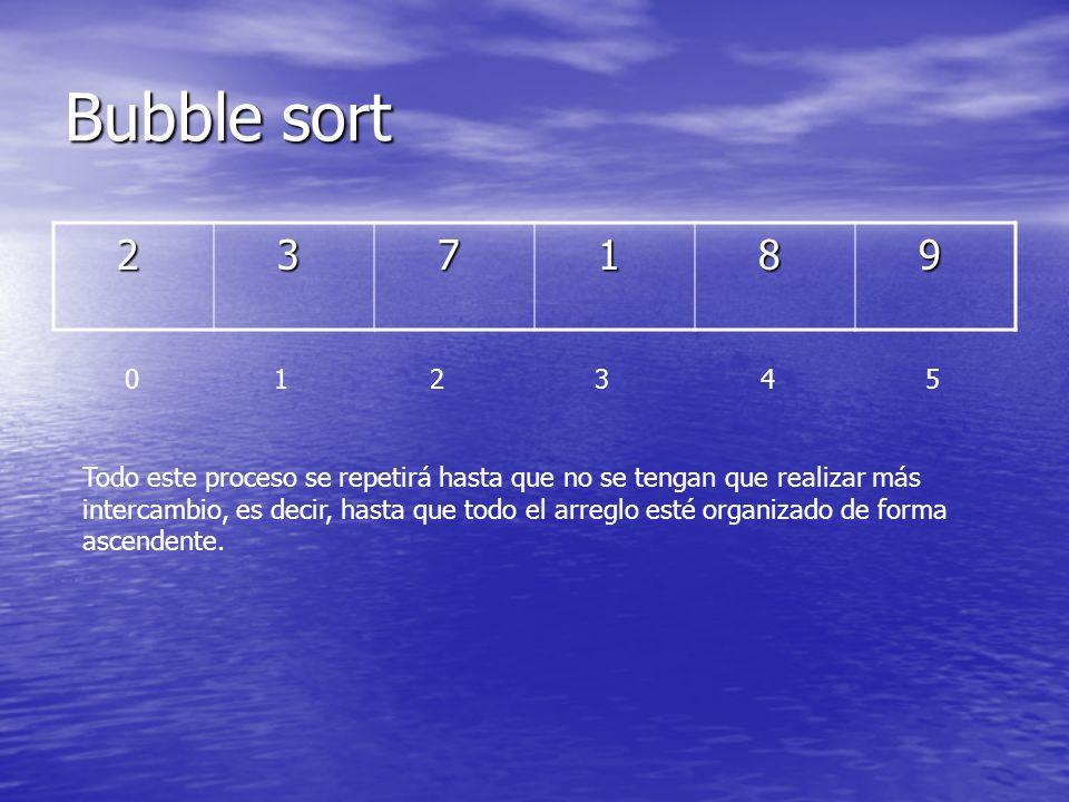 Bubble sort 2. 3. 7. 1. 8. 9. 0 1 2 3 4 5.