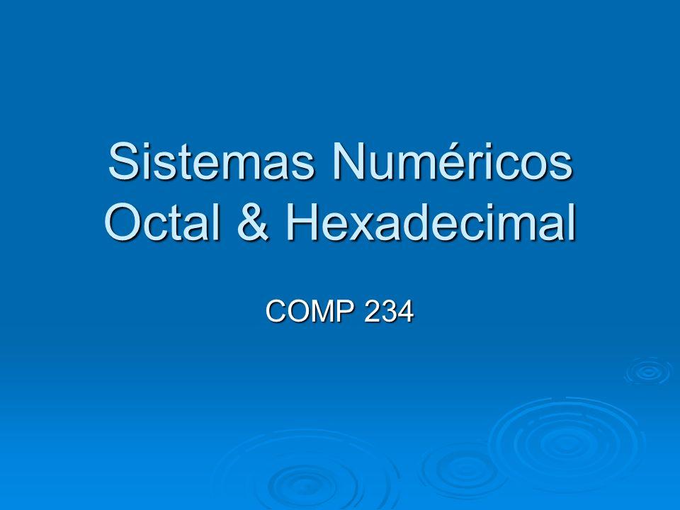 Sistemas Numéricos Octal & Hexadecimal