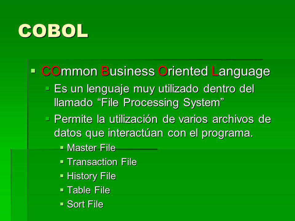 COBOL COmmon Business Oriented Language