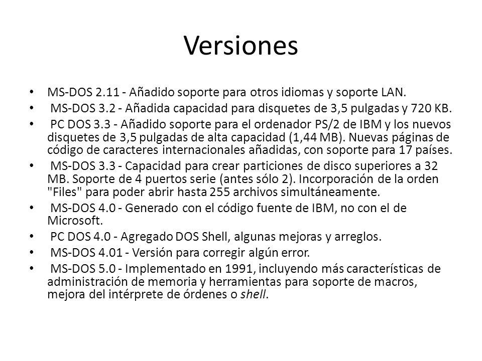 Versiones MS-DOS 2.11 - Añadido soporte para otros idiomas y soporte LAN. MS-DOS 3.2 - Añadida capacidad para disquetes de 3,5 pulgadas y 720 KB.