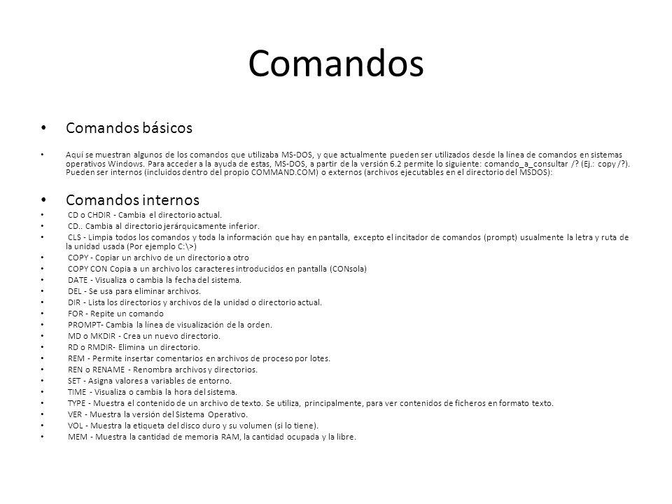 Comandos Comandos básicos Comandos internos