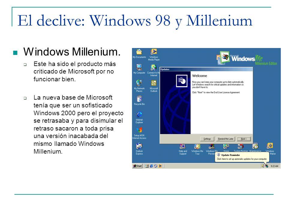 El declive: Windows 98 y Millenium