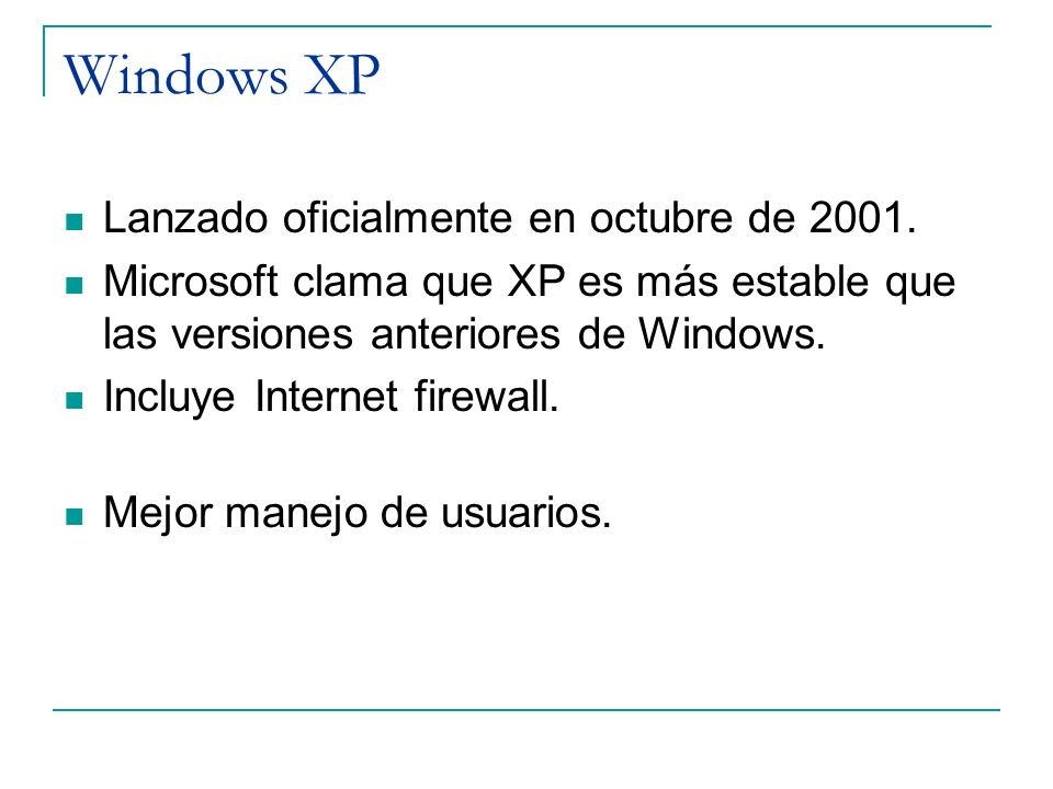 Windows XP Lanzado oficialmente en octubre de 2001.
