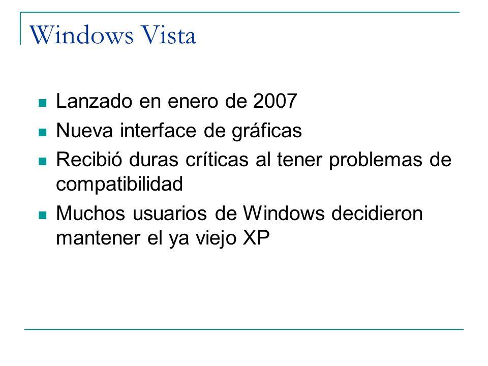 Windows Vista Lanzado en enero de 2007 Nueva interface de gráficas