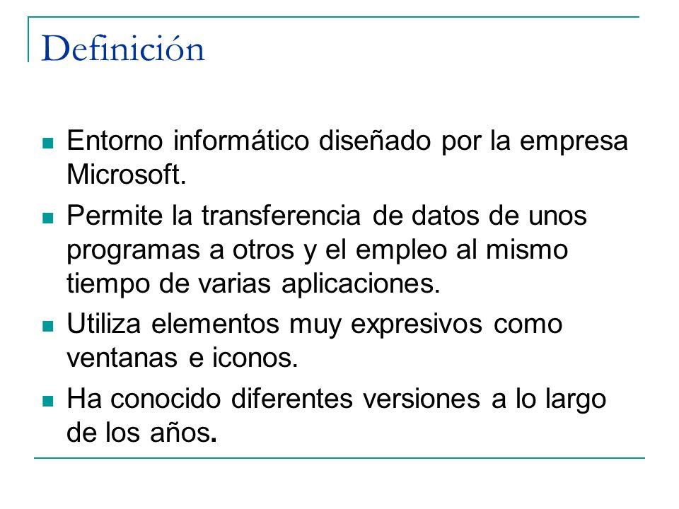 Definición Entorno informático diseñado por la empresa Microsoft.
