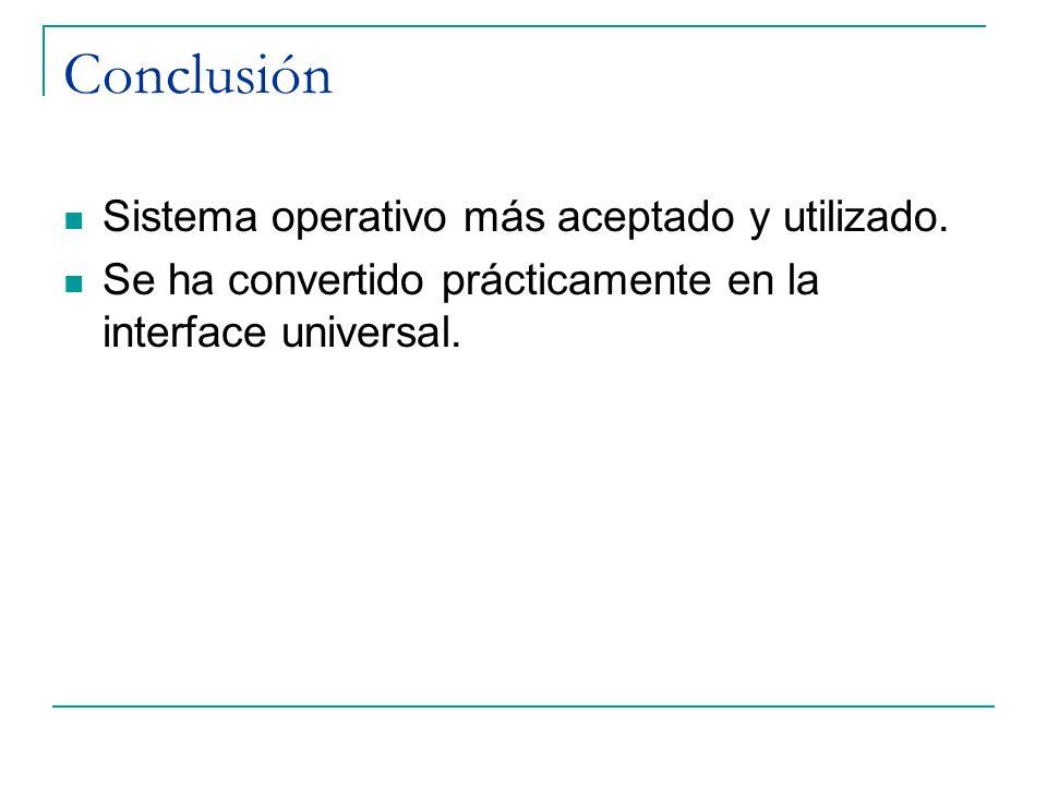 Conclusión Sistema operativo más aceptado y utilizado.