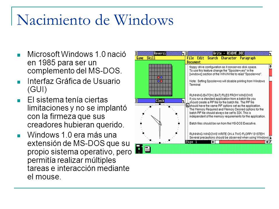 Nacimiento de Windows Microsoft Windows 1.0 nació en 1985 para ser un complemento del MS-DOS. Interfaz Gráfica de Usuario (GUI)