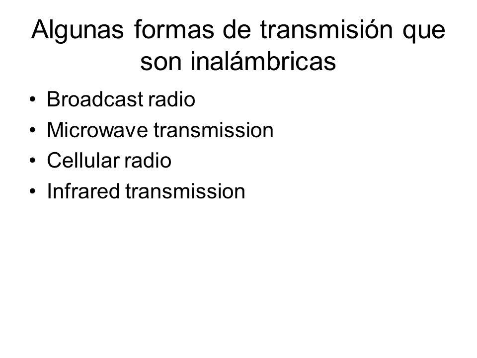 Algunas formas de transmisión que son inalámbricas