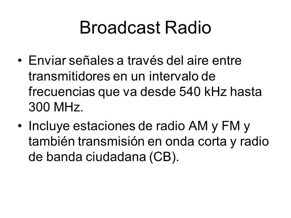 Broadcast Radio Enviar señales a través del aire entre transmitidores en un intervalo de frecuencias que va desde 540 kHz hasta 300 MHz.