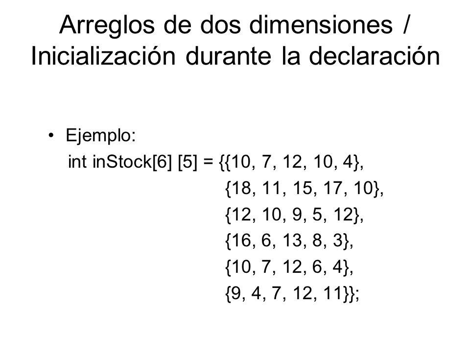 Arreglos de dos dimensiones / Inicialización durante la declaración