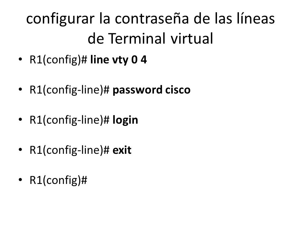 configurar la contraseña de las líneas de Terminal virtual