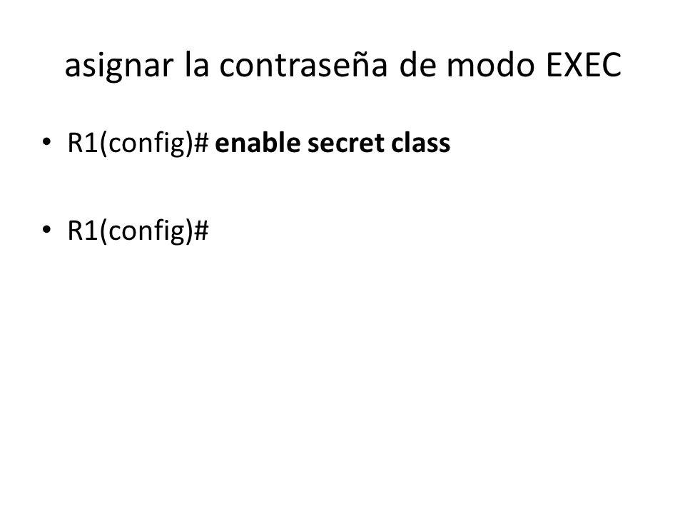 asignar la contraseña de modo EXEC