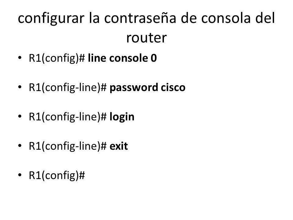 configurar la contraseña de consola del router
