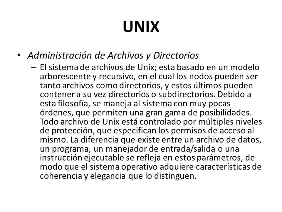 UNIX Administración de Archivos y Directorios