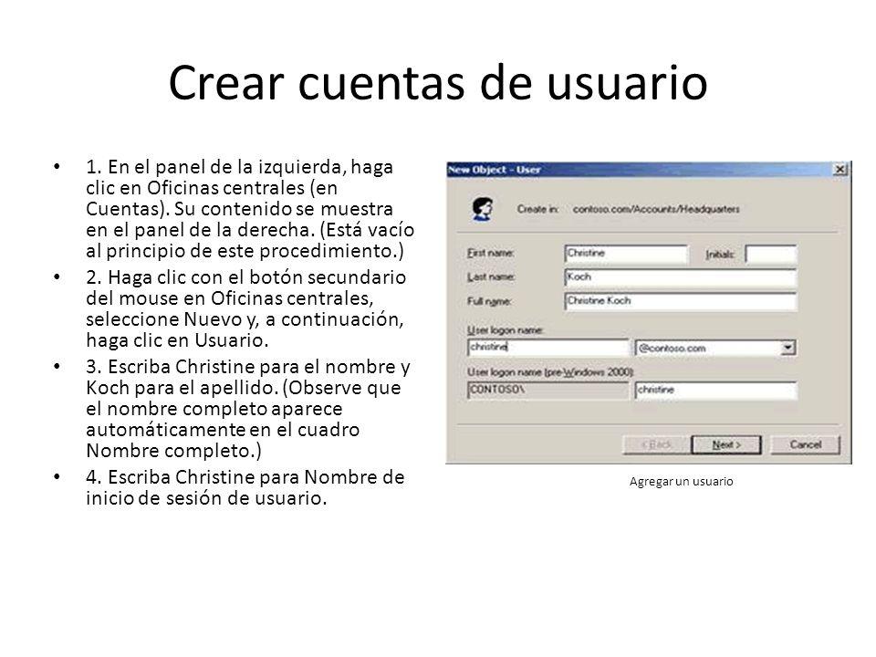 Crear cuentas de usuario