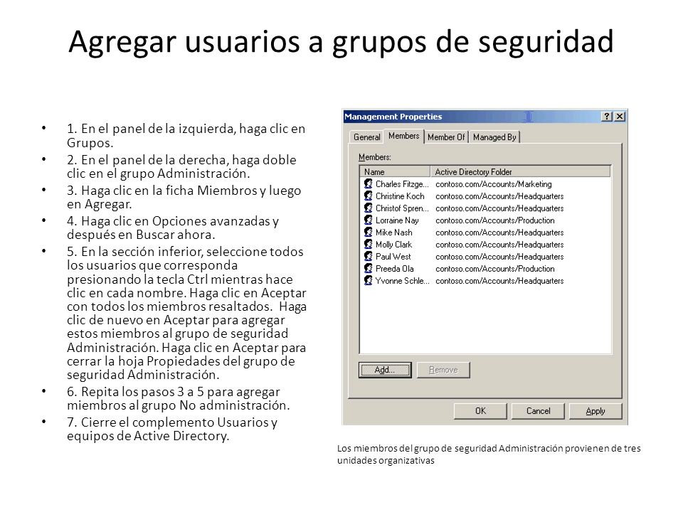 Agregar usuarios a grupos de seguridad