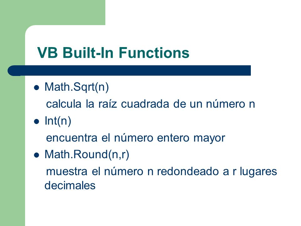 VB Built-In Functions Math.Sqrt(n)