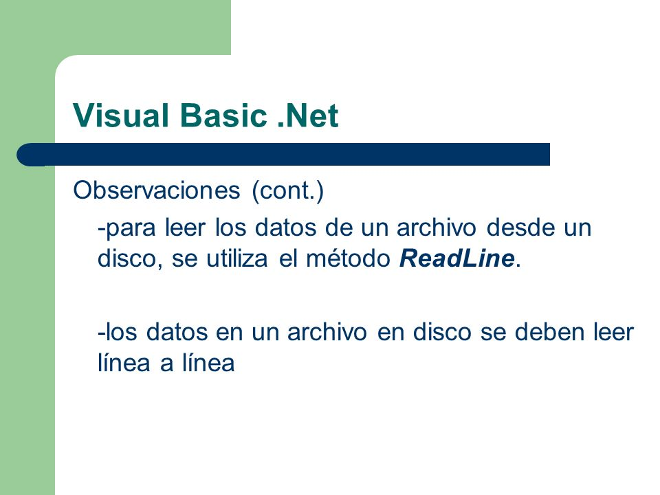 Visual Basic .Net Observaciones (cont.)