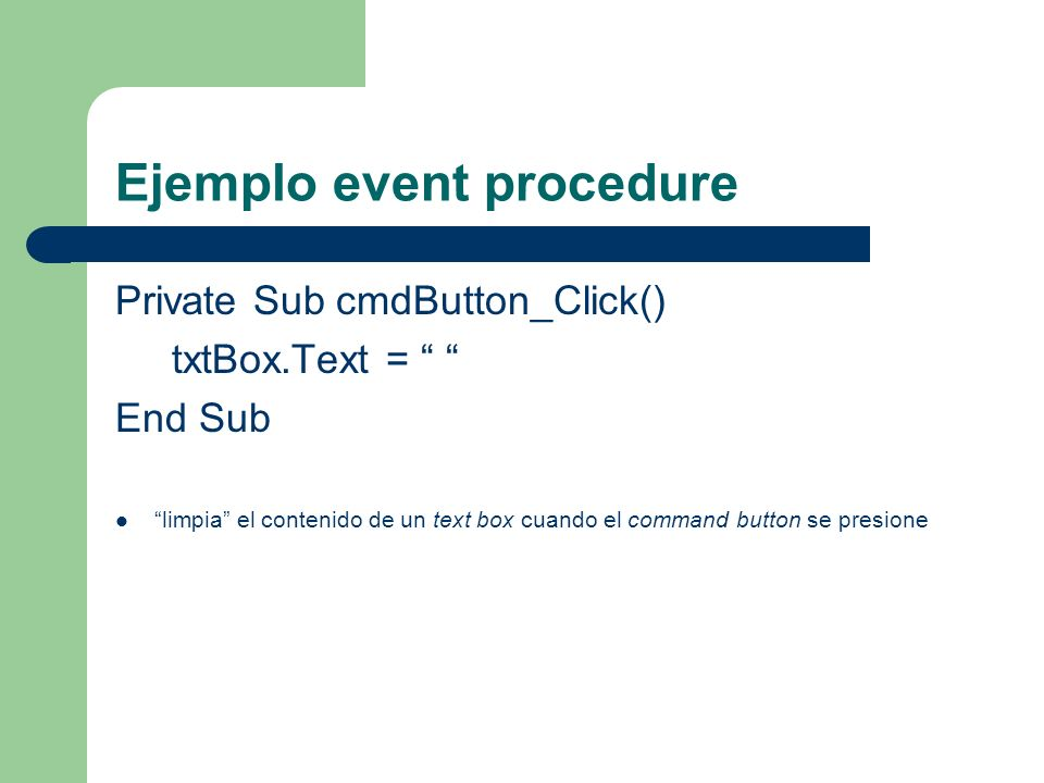 Ejemplo event procedure
