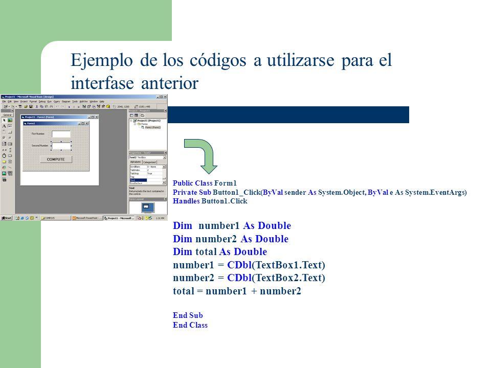 Ejemplo de los códigos a utilizarse para el interfase anterior