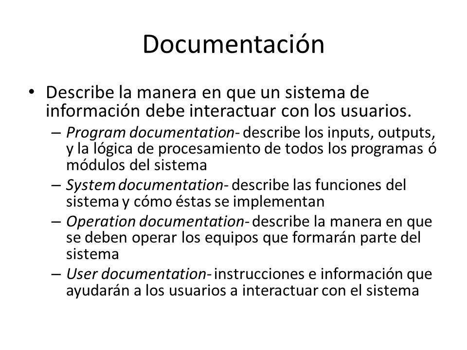 Documentación Describe la manera en que un sistema de información debe interactuar con los usuarios.