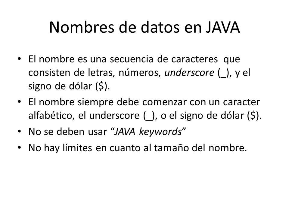 Nombres de datos en JAVA