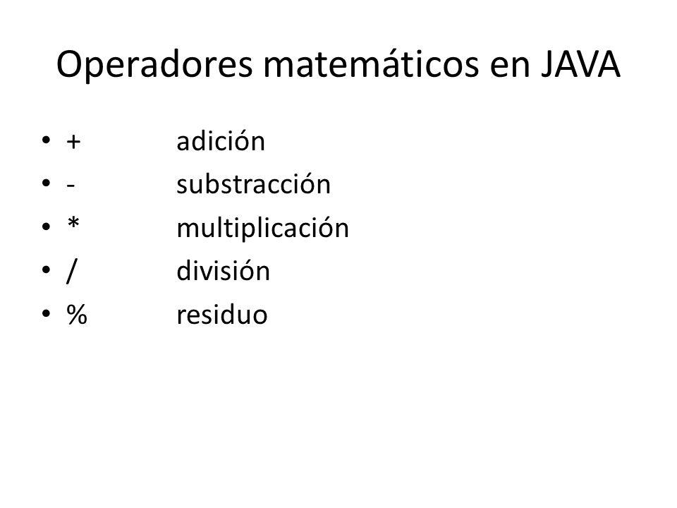 Operadores matemáticos en JAVA
