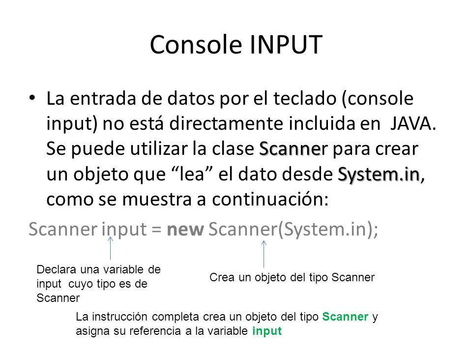 Console INPUT