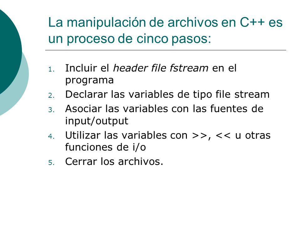 La manipulación de archivos en C++ es un proceso de cinco pasos: