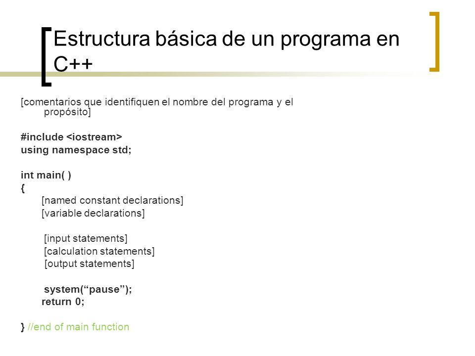 Estructura básica de un programa en C++