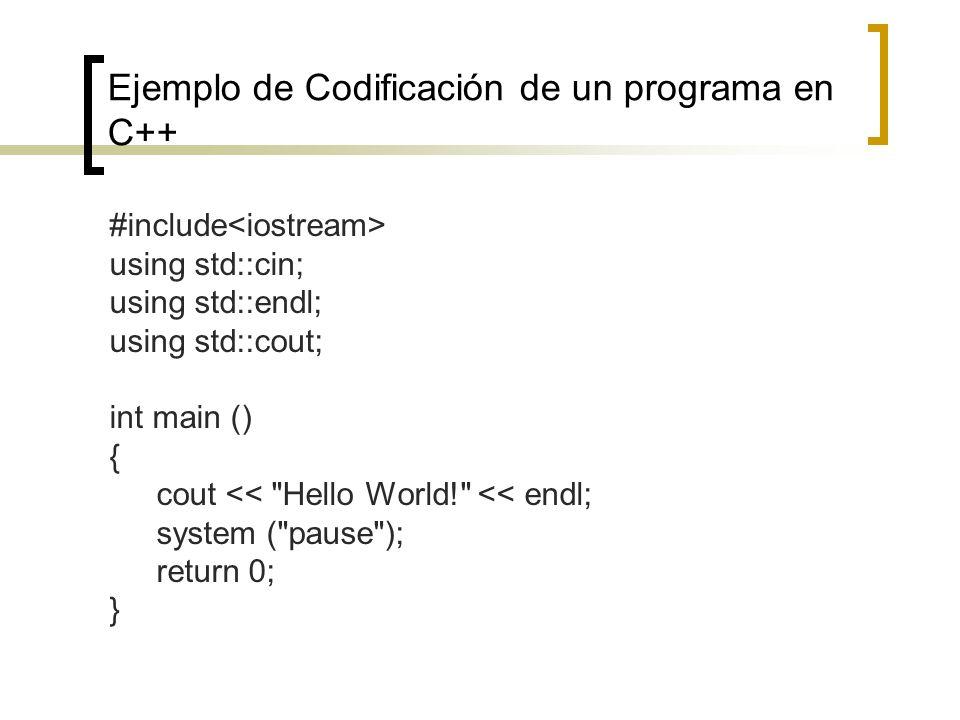 Ejemplo de Codificación de un programa en C++