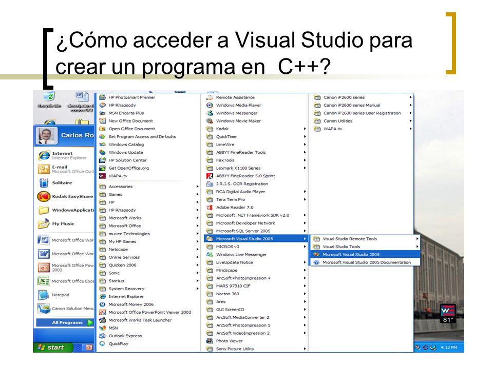 ¿Cómo acceder a Visual Studio para crear un programa en C++
