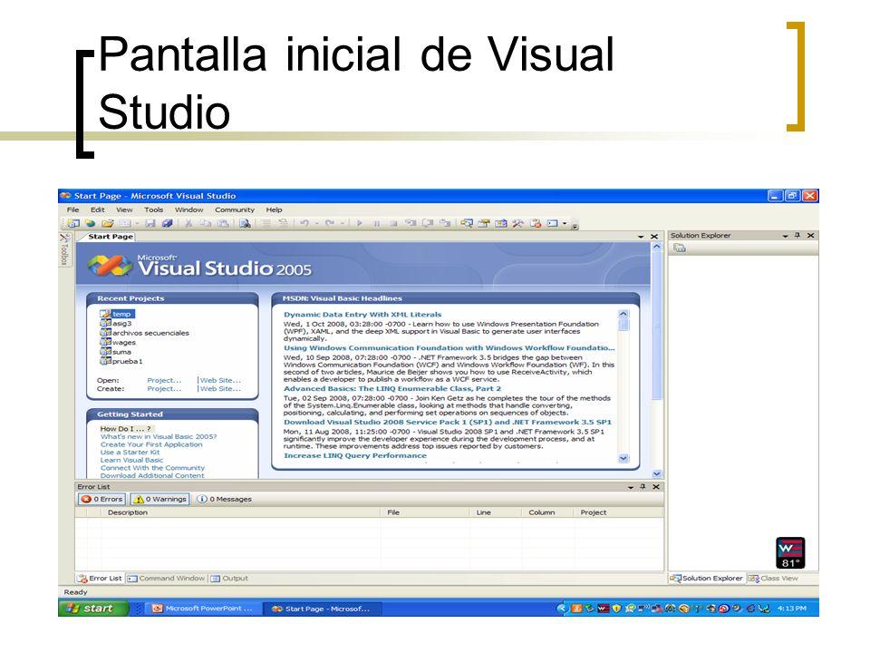 Pantalla inicial de Visual Studio