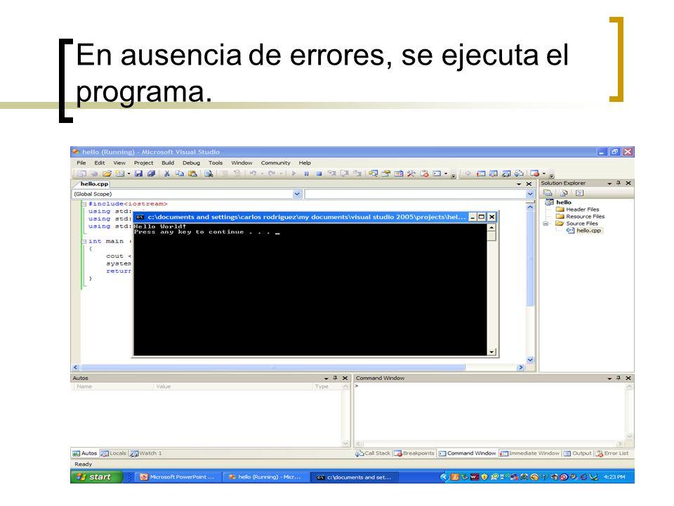 En ausencia de errores, se ejecuta el programa.