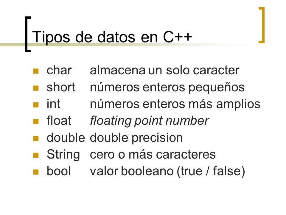 Tipos de datos en C++ char almacena un solo caracter
