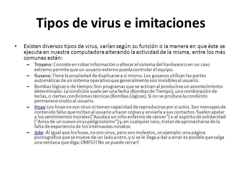 Tipos de virus e imitaciones
