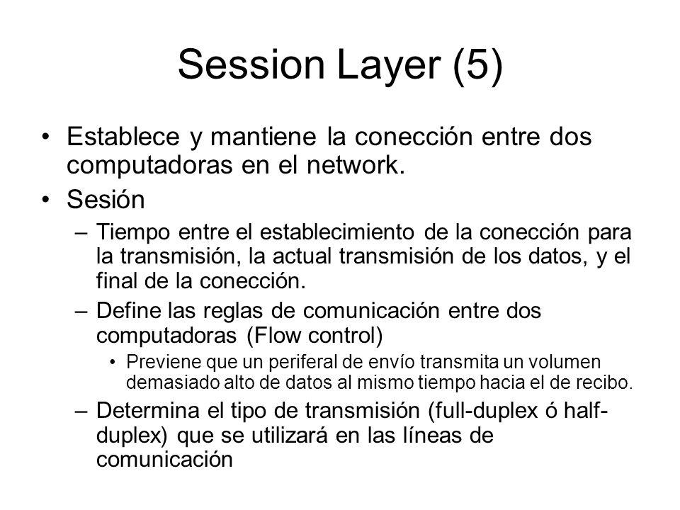 Session Layer (5) Establece y mantiene la conección entre dos computadoras en el network. Sesión.