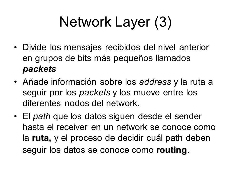 Network Layer (3) Divide los mensajes recibidos del nivel anterior en grupos de bits más pequeños llamados packets.