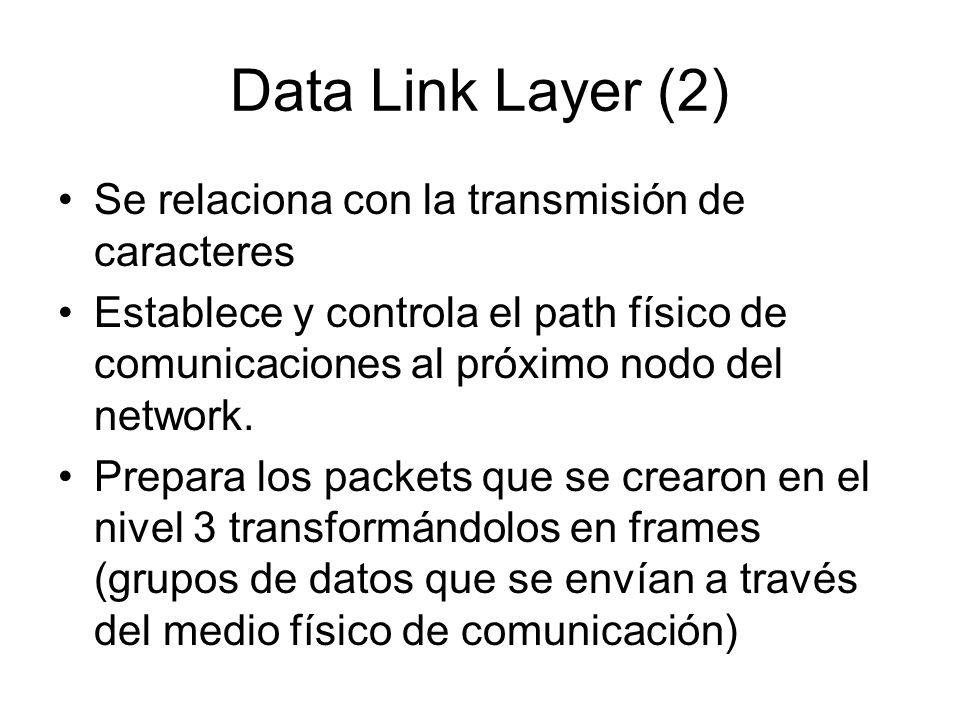 Data Link Layer (2) Se relaciona con la transmisión de caracteres