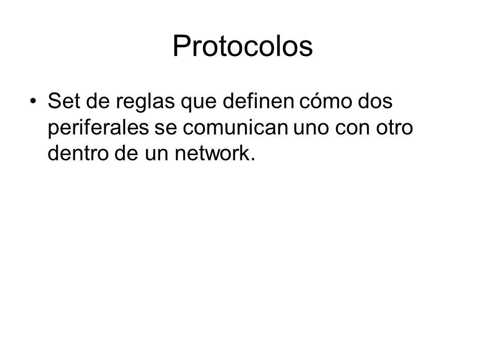 Protocolos Set de reglas que definen cómo dos periferales se comunican uno con otro dentro de un network.
