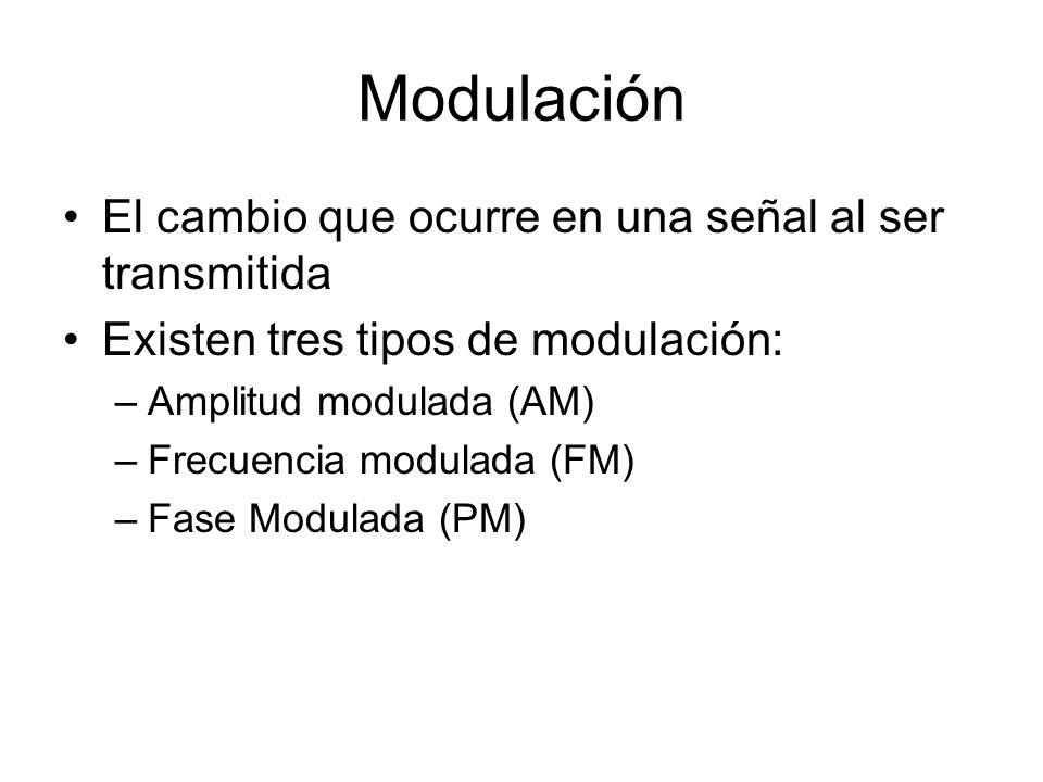 Modulación El cambio que ocurre en una señal al ser transmitida