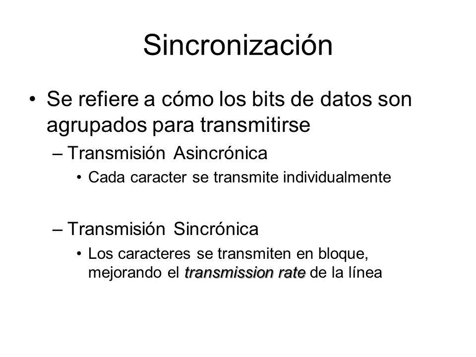 Sincronización Se refiere a cómo los bits de datos son agrupados para transmitirse. Transmisión Asincrónica.