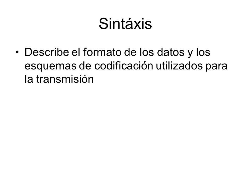 Sintáxis Describe el formato de los datos y los esquemas de codificación utilizados para la transmisión.