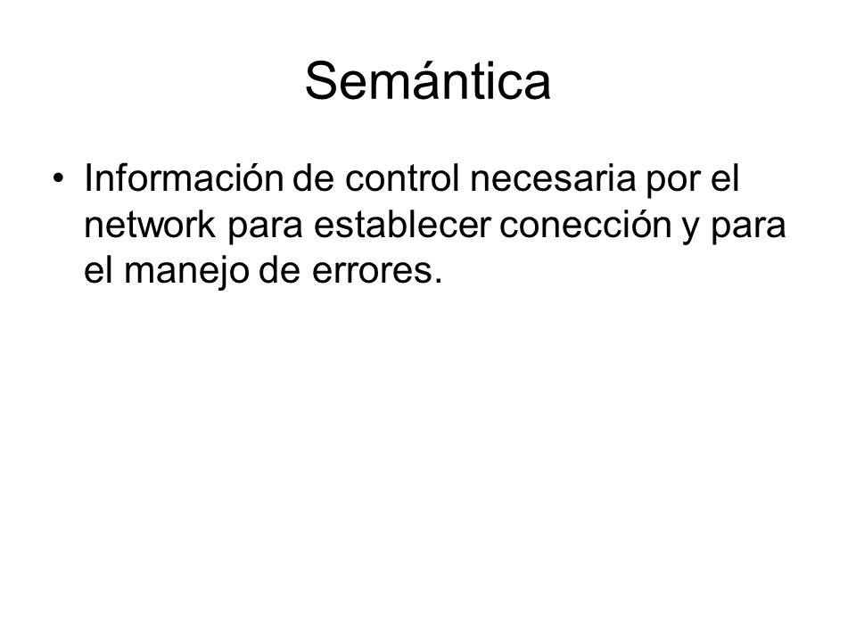 Semántica Información de control necesaria por el network para establecer conección y para el manejo de errores.