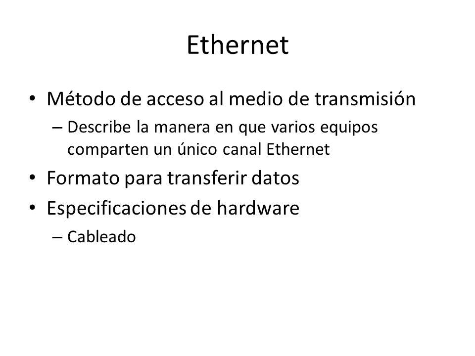 Ethernet Método de acceso al medio de transmisión