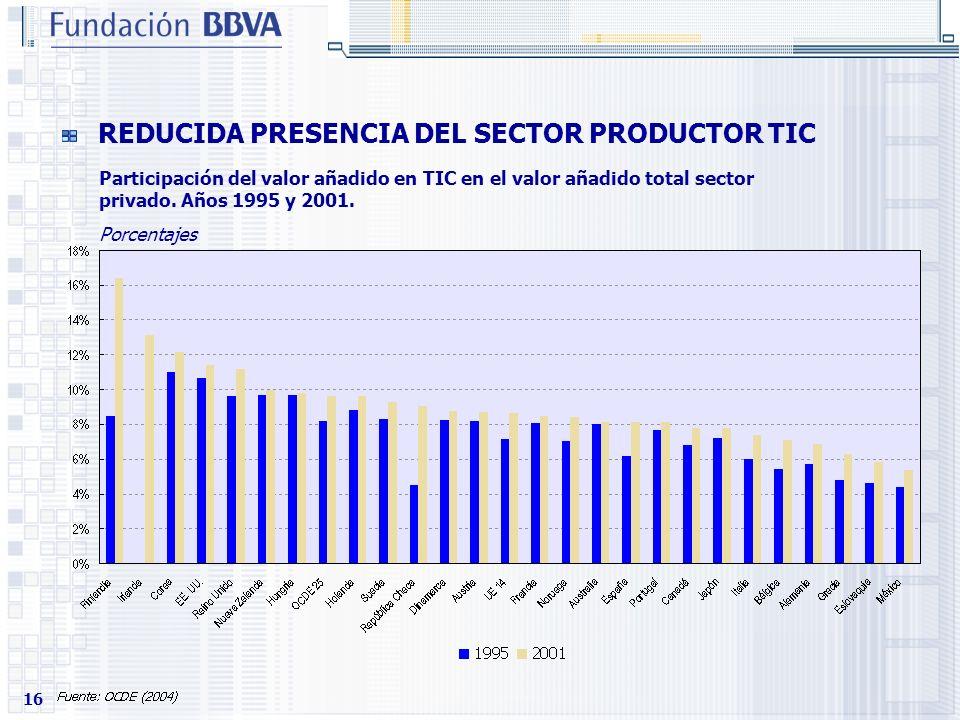 REDUCIDA PRESENCIA DEL SECTOR PRODUCTOR TIC