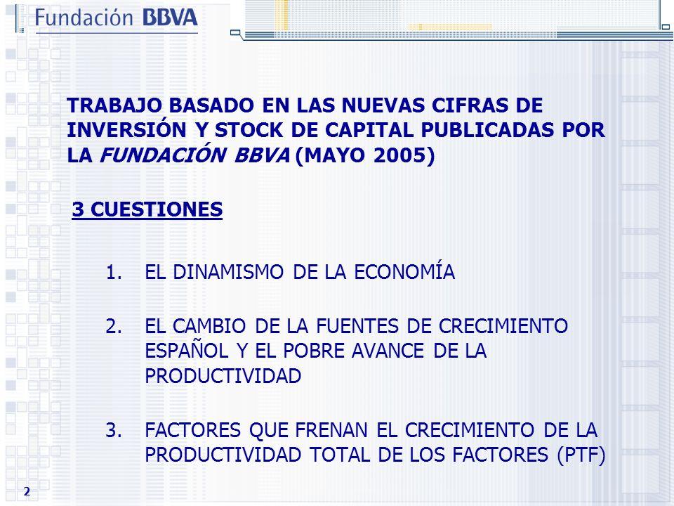 TRABAJO BASADO EN LAS NUEVAS CIFRAS DE INVERSIÓN Y STOCK DE CAPITAL PUBLICADAS POR LA FUNDACIÓN BBVA (MAYO 2005)