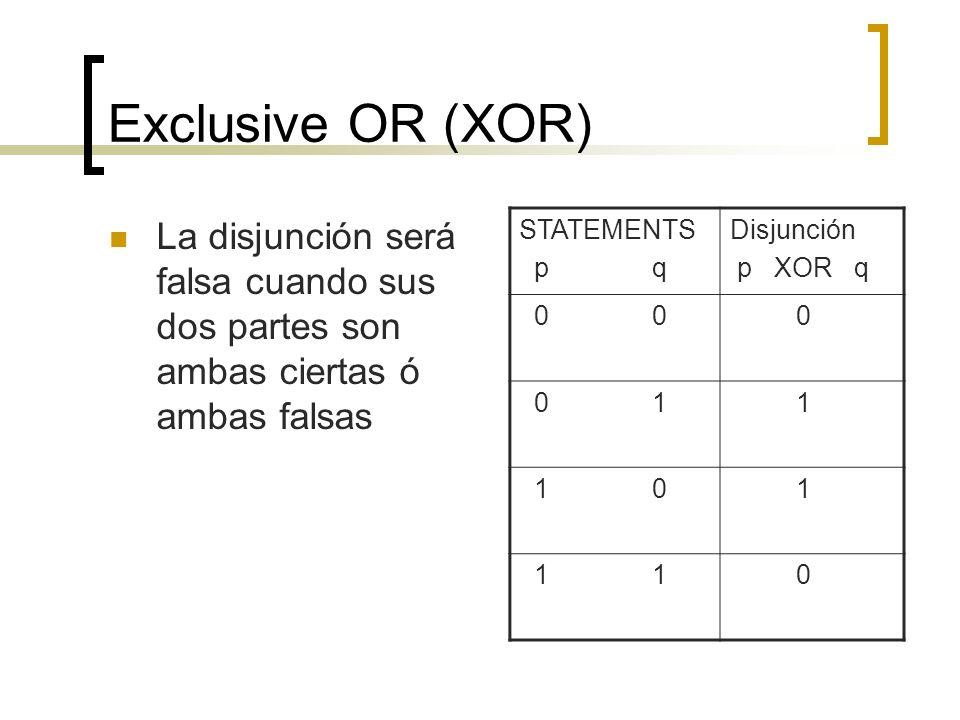 Exclusive OR (XOR)La disjunción será falsa cuando sus dos partes son ambas ciertas ó ambas falsas. STATEMENTS.
