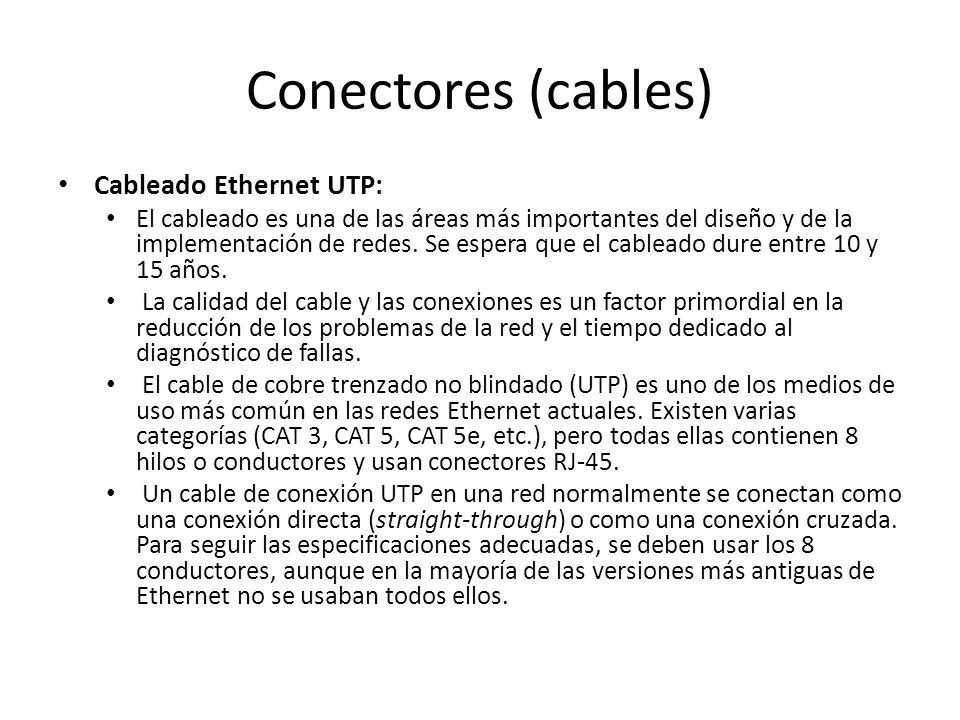 Conectores (cables) Cableado Ethernet UTP: